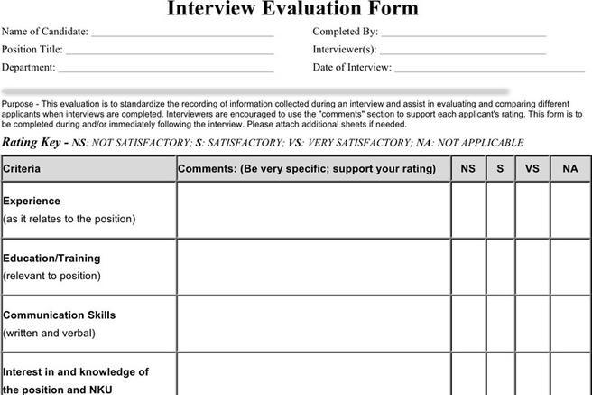 Interview Evaluation Form | Download Free & Premium Templates