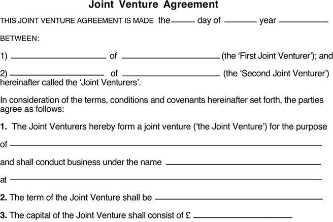 Simple Joint Venture Agreement Sample