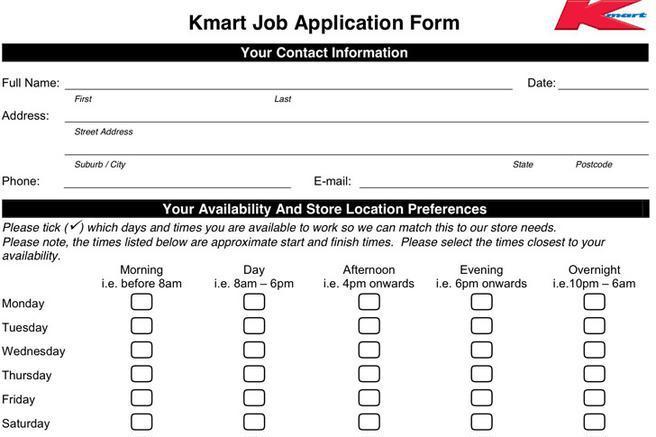 Kmart Job Application Form Download Free Premium Templates