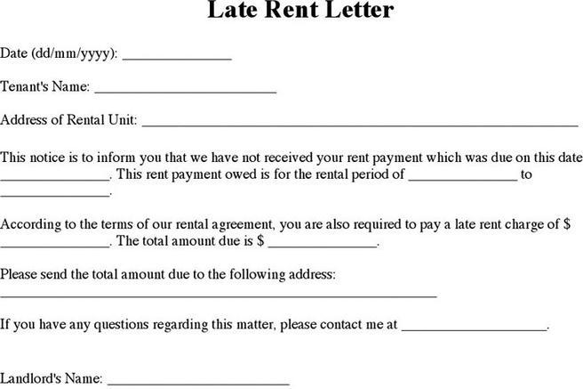 Rent and Lease Template – Late Rent Notice Template