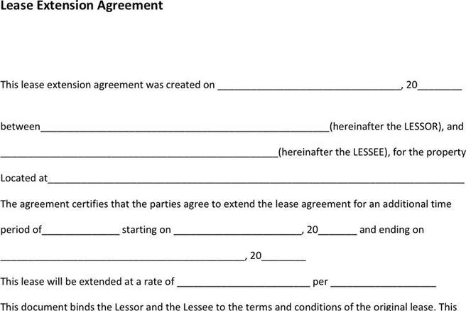 Rent and Lease Template – Lease Extension Agreement