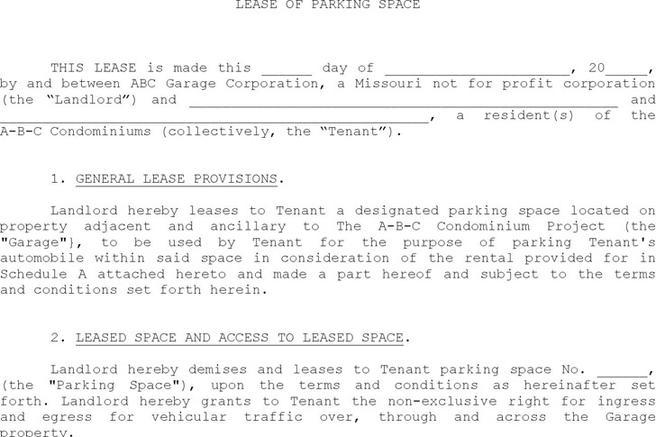 Parking Lease Template  Download Free  Premium Templates Forms