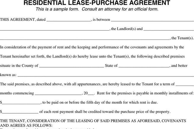 Lease Purchase Agreement  Download Free  Premium Templates Forms