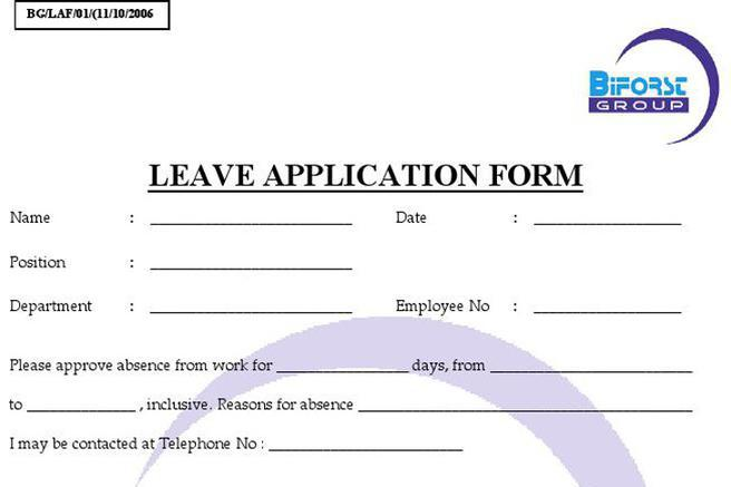 Doc728942 Employee Leave Form Doc627338 Leave Application – Example of Leave Form