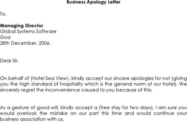 Business Apology Letter For Mistake. Letters Org Apology Letter