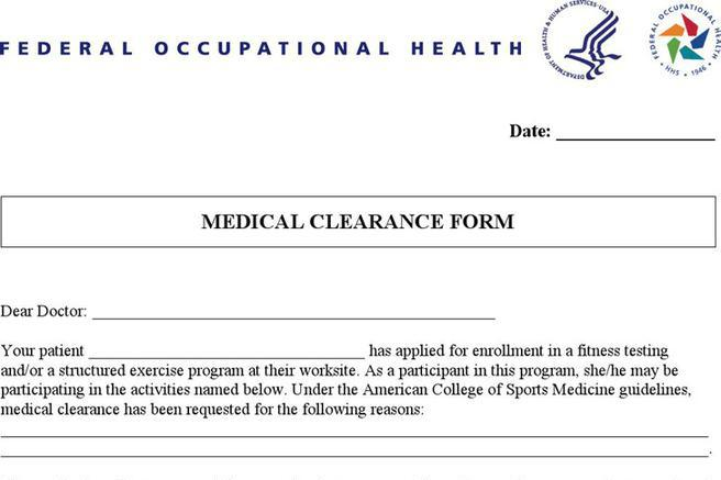 Medical Clearance Form | Download Free & Premium Templates, Forms