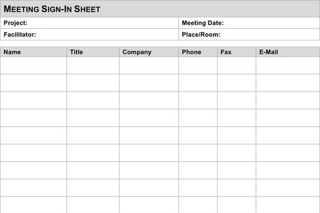 Meeting Sign In Sheet | Download Free & Premium Templates, Forms