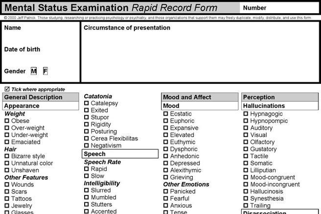 Mental Status Exam Template | Download Free & Premium Templates ...