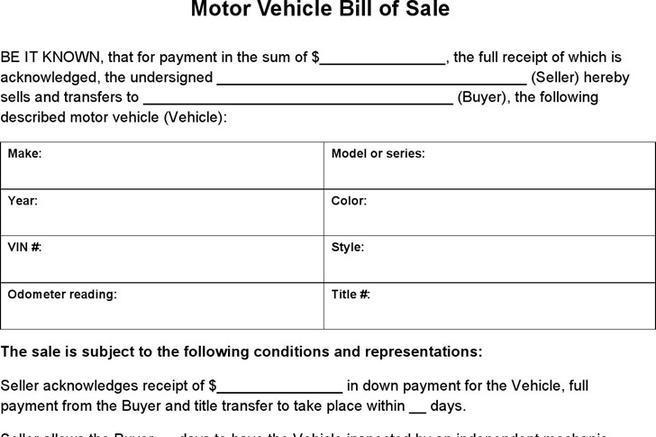 nc bill of sale auto