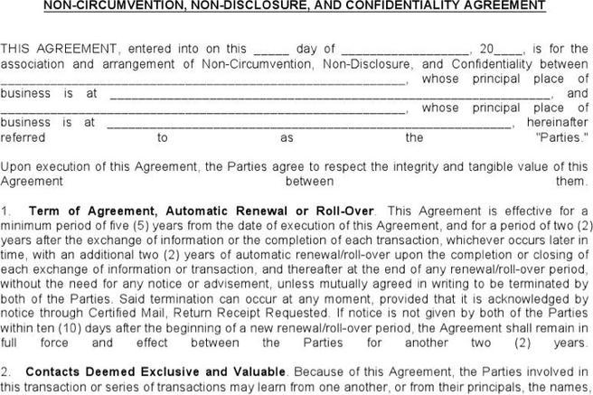 Agreement template download free premium templates for Non circumvention non disclosure agreement template