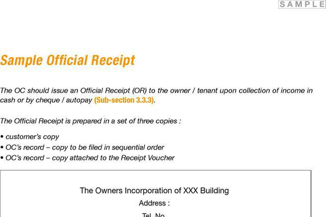 Receipt Template – Sample of Official Receipt Form