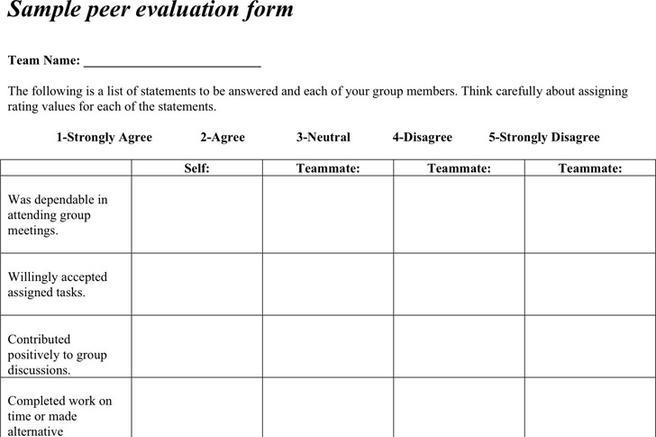 Peer Evaluation  Download Free  Premium Templates Forms