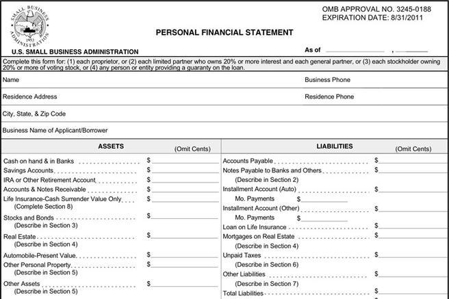 Personal Financial Statement Form | Download Free & Premium