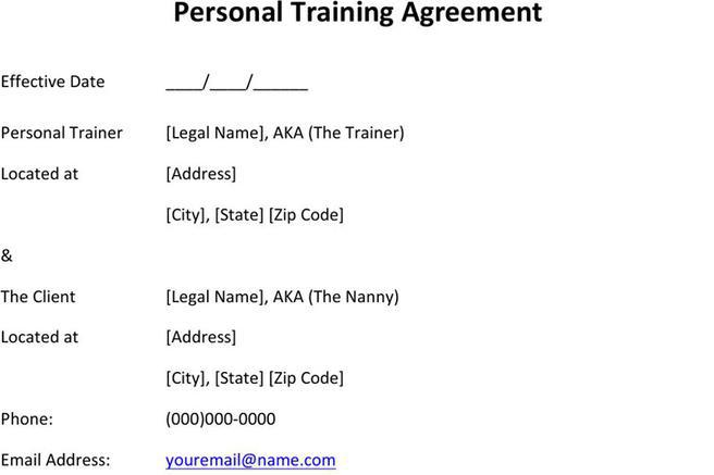 Personal Training Contract Sample | Download Free & Premium