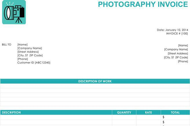 Photography Invoice Samples