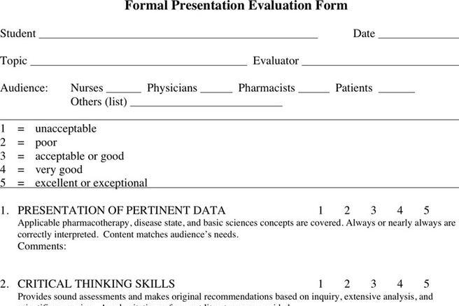 Presentation Evaluation Form In Doc Patient Evaluation Form Doc