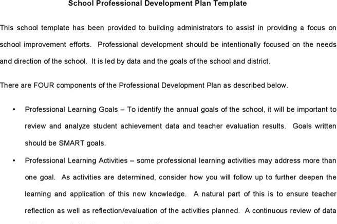 Sample School Development Plan Templates