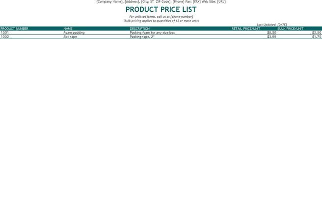 Product List Template