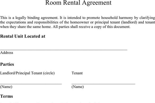 Room Rental Agreement  Download Free  Premium Templates Forms