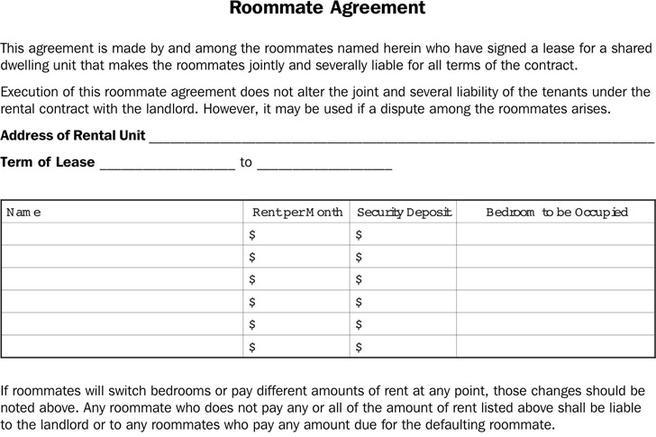 Roommate Agreement  Download Free  Premium Templates Forms