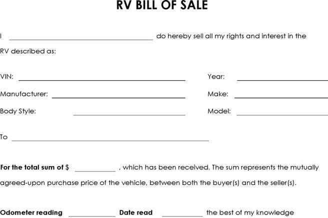 camper bill of sale
