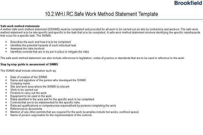 Safe Work Method Statements Templates Template Safe Work Method