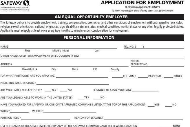 safeway-job-application-california-applicants-only Safeway Application Form on