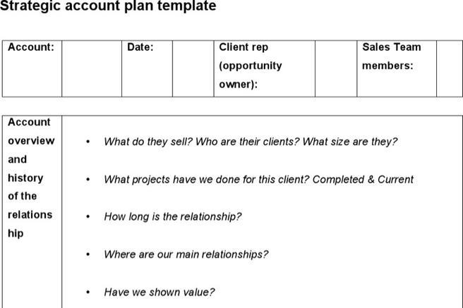 Sample Strategic Account Plan Templates