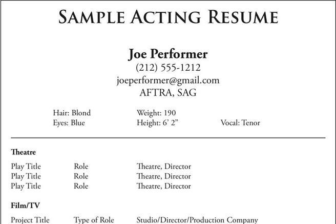 Sample Acting Resume | Resume Samples And Resume Help