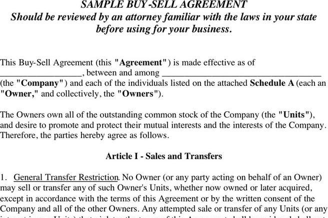 Buy Sell Agreement | Download Free & Premium Templates, Forms