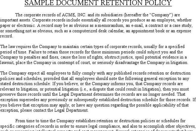 Document Retention Policy  Download Free  Premium Templates