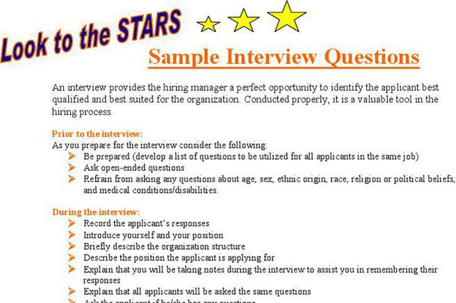 Star Sample Interview Questions