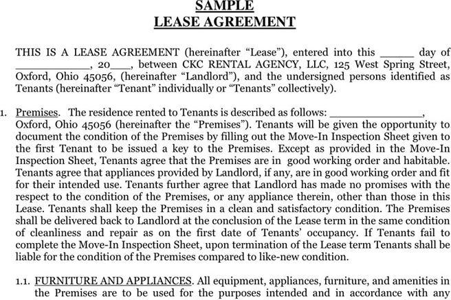 simple lease agreement texas