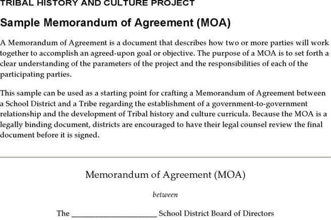 Memorandum Of Agreement Template  Download Free  Premium Templates