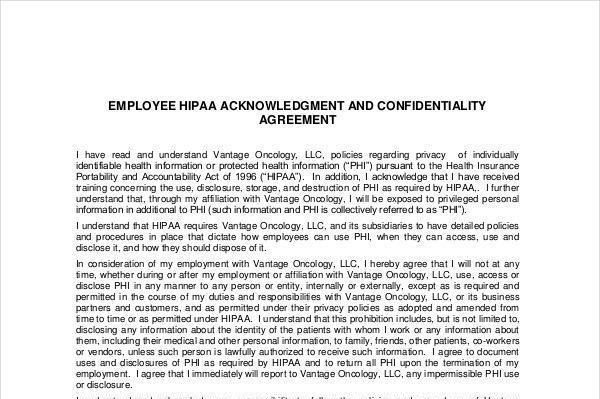 Agreement Template – Patient Confidentiality Agreement