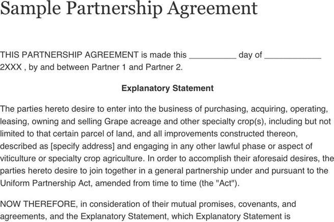 Sample Partnership Agreement | Download Free & Premium Templates