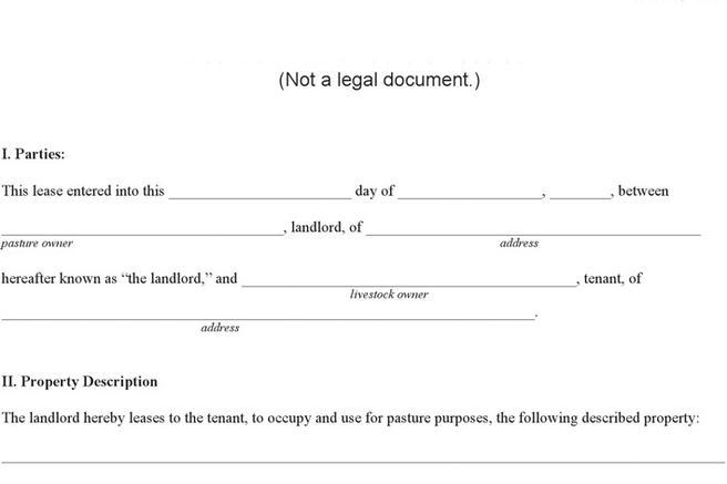 Rent and Lease Template – Sample Pasture Lease Agreement Template