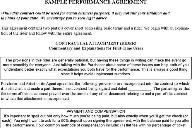 Performance Contract Template Nanny Contract Template Best Business