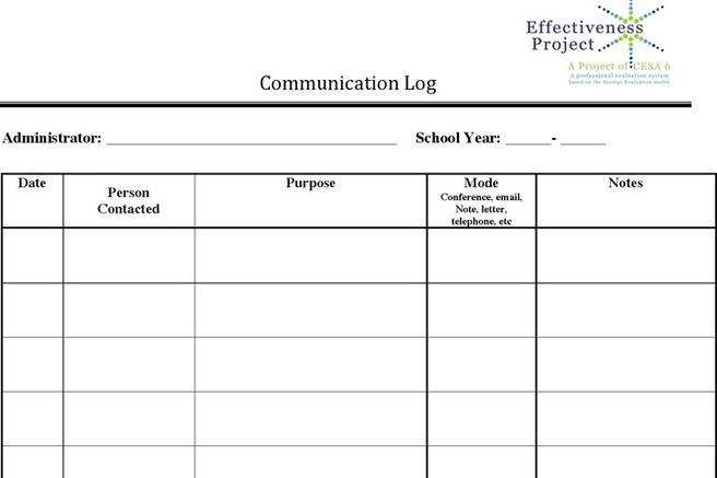 Log Template – Communication Log Template