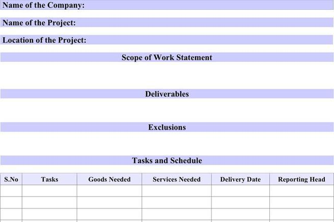 Work Statement Template