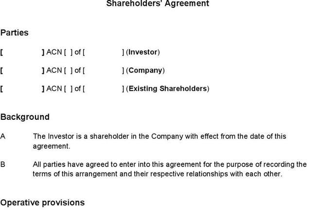 Investors Agreement Template Equity Agreement Template Jpg