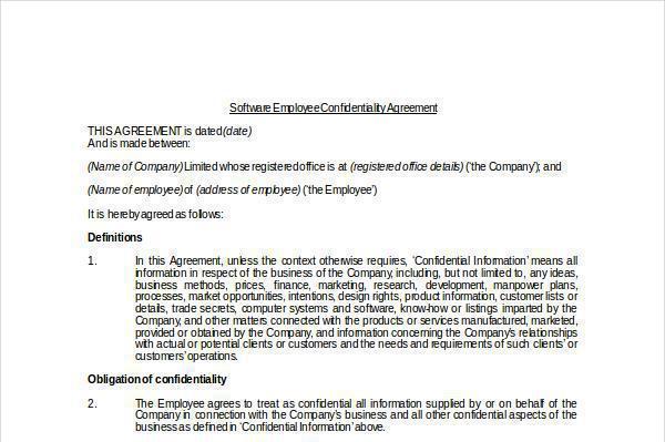 Employment Confidentiality Agreement Template Costumepartyrun