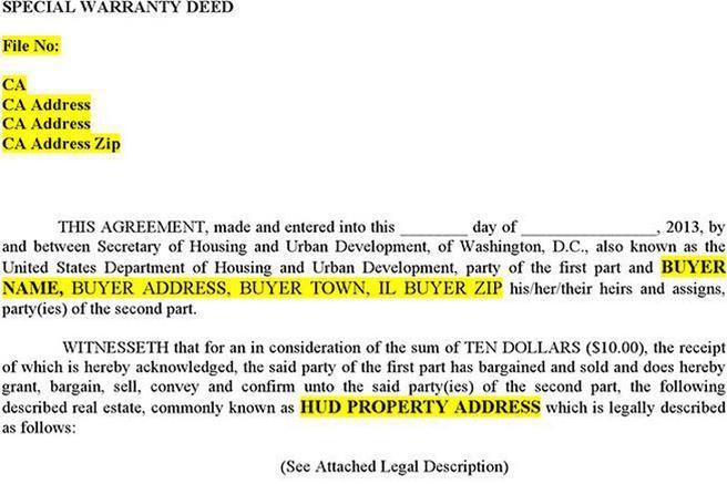 Warranty Deed Form. Special Warranty Deed Special Warranty Deed