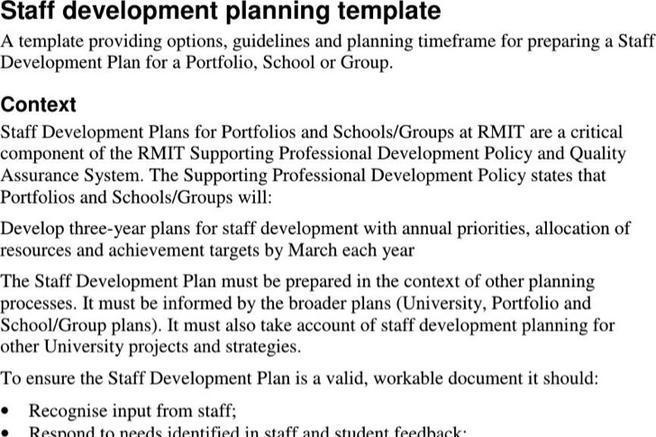 Sample Staff Development Plan Templates