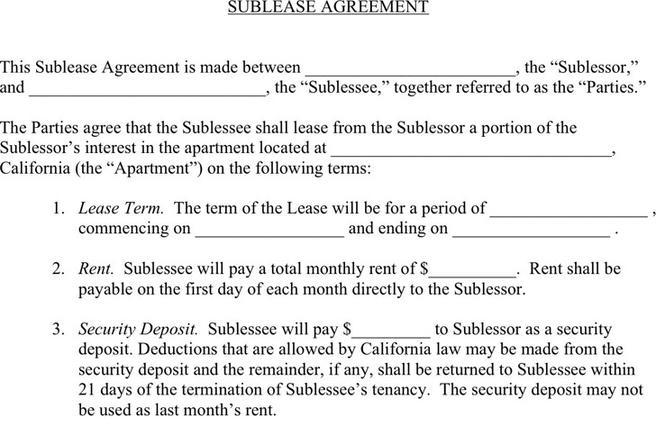 Sublease Agreement  Download Free  Premium Templates Forms