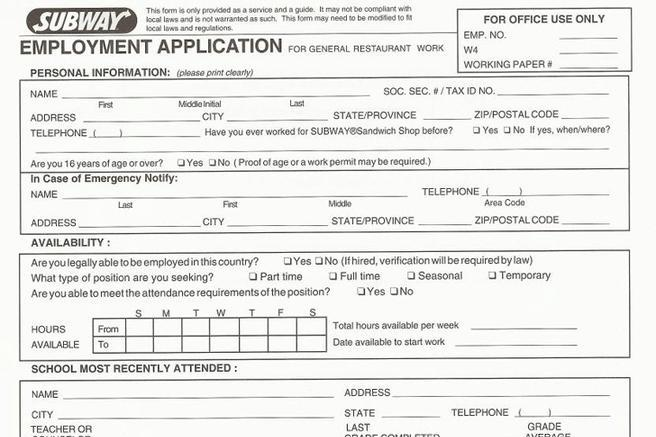 subway job application form download free premium templates forms samples for jpeg png