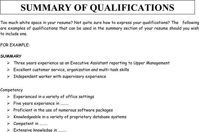 summary of qualifications administrative assistant
