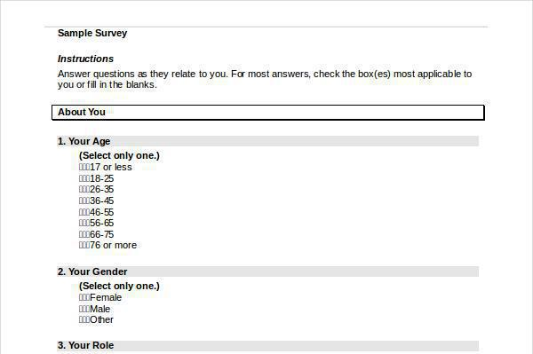 Survey Template – Survey Question Template