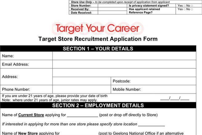 Job Application Form – Target Application Form