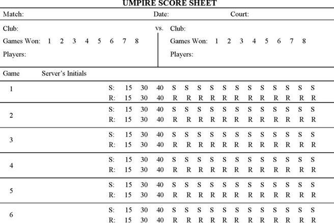Tennis Score Sheet | Download Free U0026 Premium Templates, Forms U0026 Samples For  JPEG, PNG, PDF, Word And Excel Formats